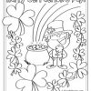St Patricks Day Lucky Clover and Leprechaun Coloring Page