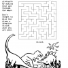 Dinosaur Maze and Coloring Page