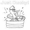 Duck in Swimming Pool Coloring Page