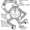Time to Fall Back Time Change Coloring Page