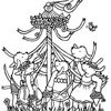 May Day Maypole Coloring Page with the Pups