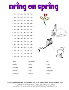 Bring on Spring Word search printable