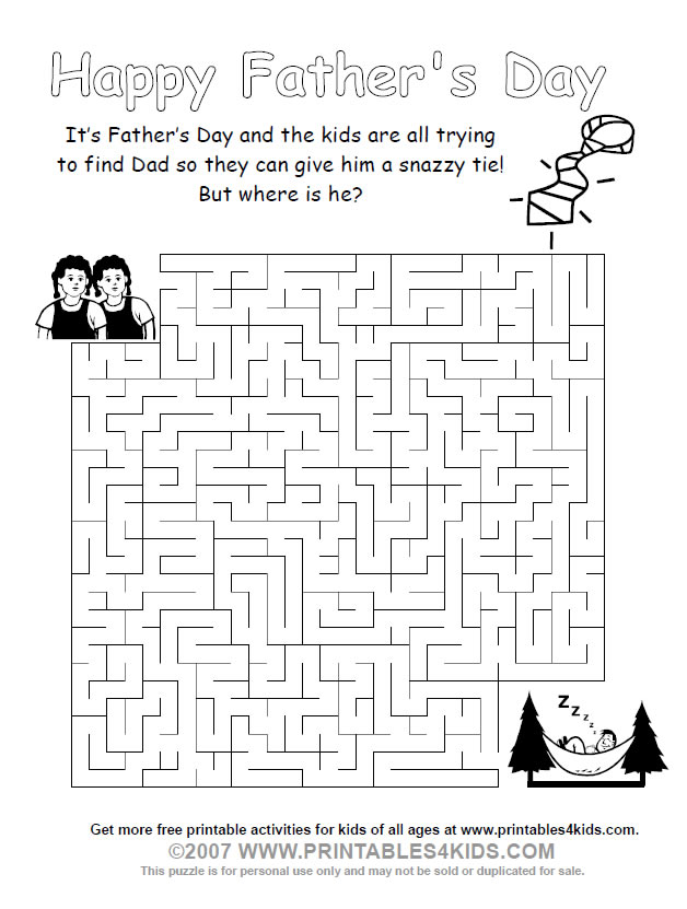 Printable Fathers Day Maze : Printables for Kids – free word search ...
