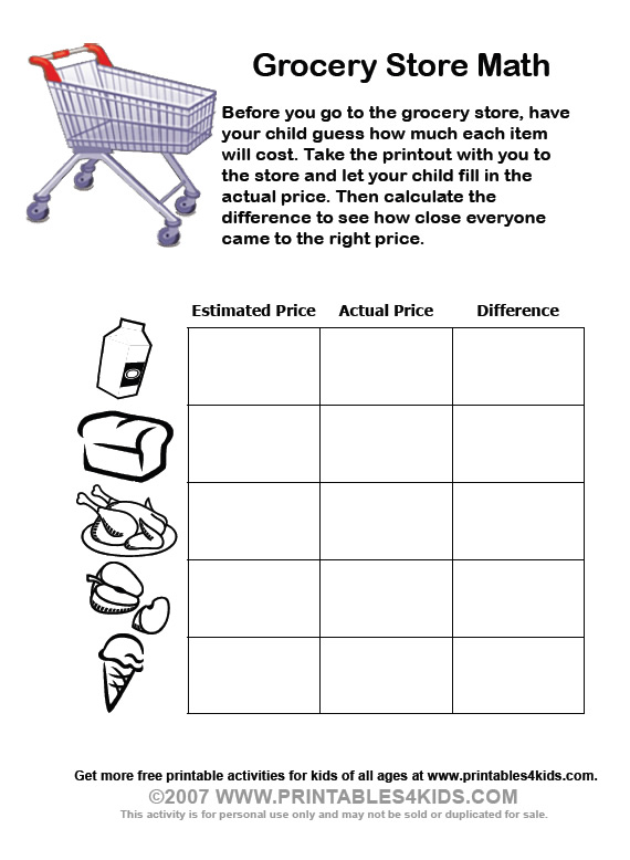 Grocery Store Math worksheets : Printables for Kids – free word ...