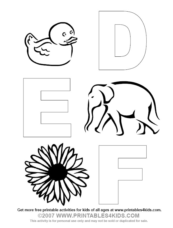 Alphabet coloring letters d e f printables for kids free word alphabet coloring letters d e f printables for kids free word search puzzles coloring pages and other activities altavistaventures Image collections