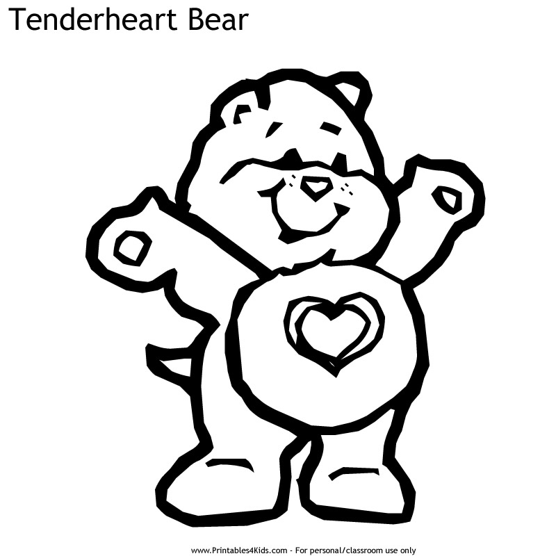 Care Bears Tenderheart Bear Coloring Page Printables For Kids Free Word Search Puzzles Coloring Pages And Other Activities