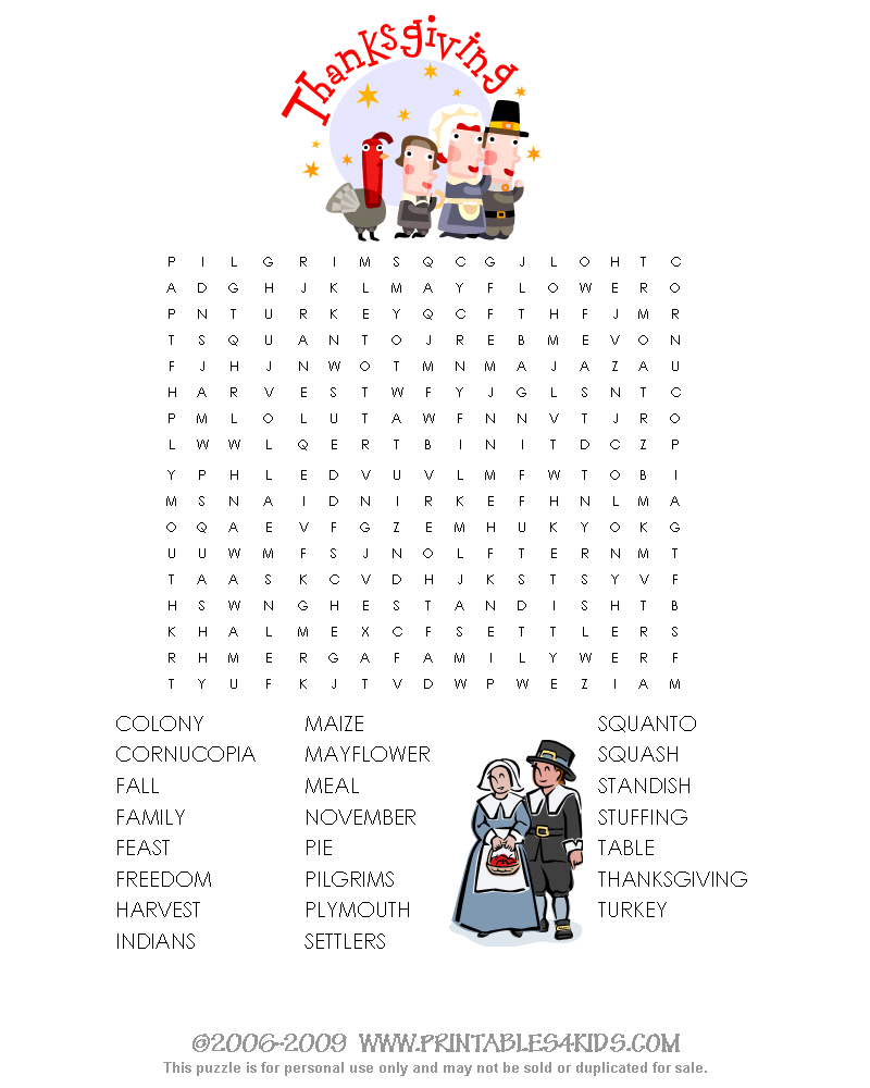 Printable Thanksgiving Word Search : Printables for Kids – free word ...