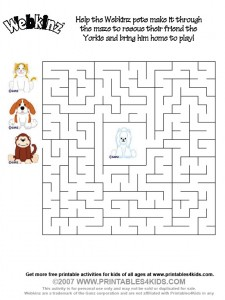 printable Webkinz maze activity