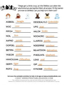 Webkinz word scramble answers