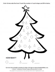 Christmas Tree Count and Color Activity