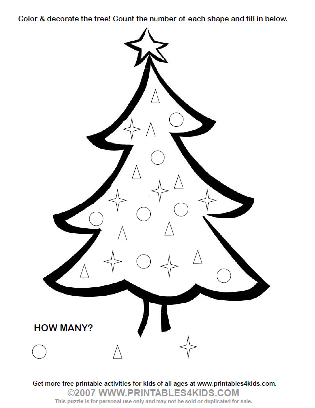 Christmas Tree Count and Color Activity  Printables for Kids
