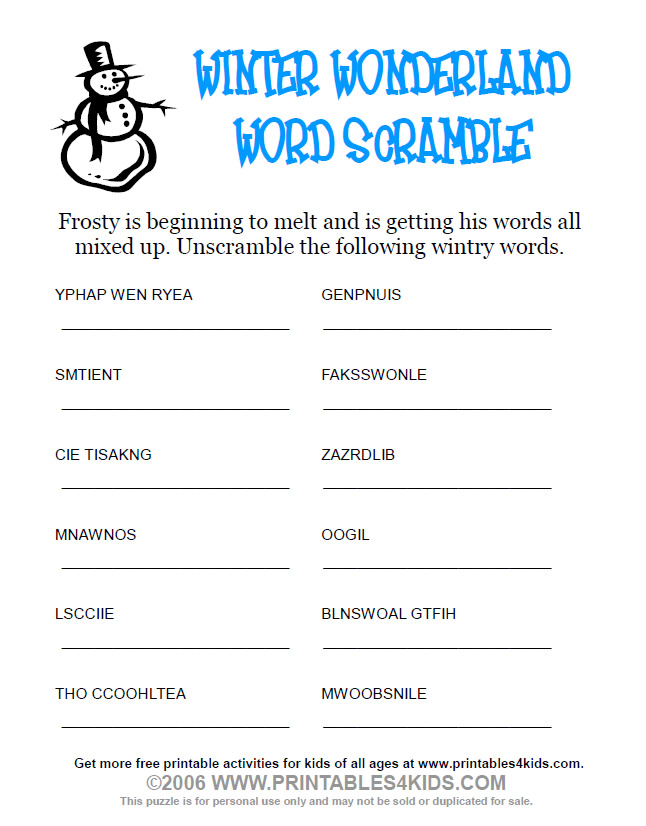 Free Printable Winter Word Scramble