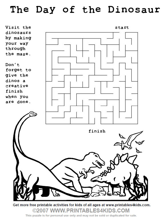 printable dinosaur maze for kids printables for kids free word search puzzles coloring pages and other activities - Free Kids Printable Activities