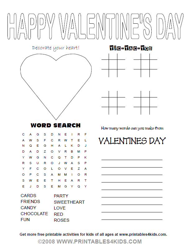Valentines Day Party Activity Sheet Printables For Kids Free Word Search Puzzles Coloring Pages And Other Activities