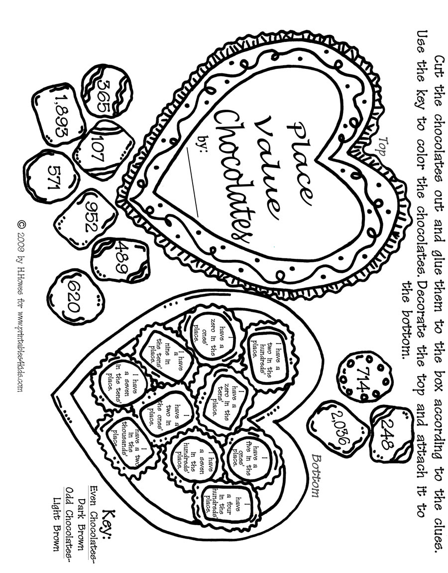 Valentines Day Math Worksheet Printables For Kids Free Word
