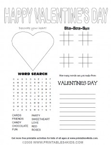 Valentine's Day 4-in-1 Activity Sheet