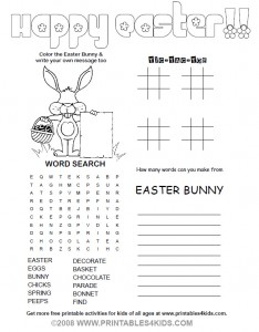 Easter 4-in-1 activity sheet