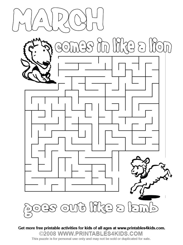 March Lion and Lamb Maze : Printables for Kids – free word search ...