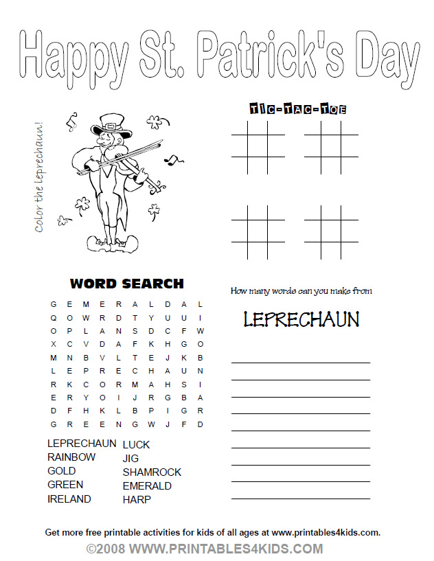 printable 4 in 1 st patricks day activity sheet printables for kids free word search puzzles coloring pages and other activities - Print Activities For Kids