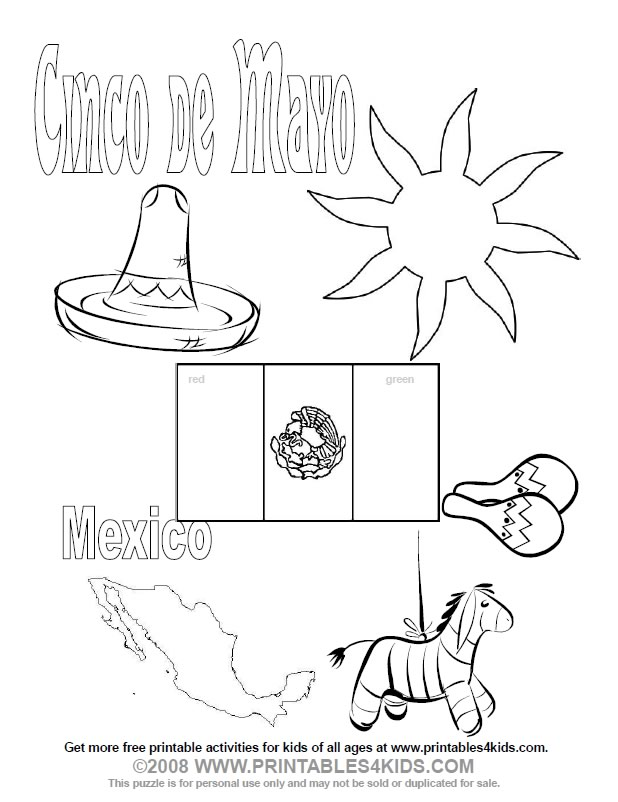 photograph relating to Cinco De Mayo Coloring Pages Printable called Cinco de Mayo Coloring Web page : Printables for Young children absolutely free