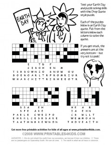 Earth Day Drop Quote Printable Puzzle