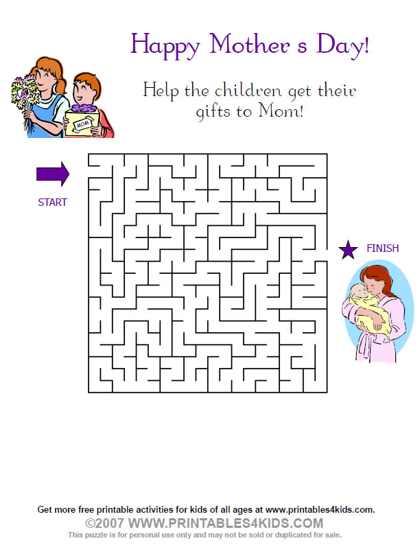 Printable Mothers Day Maze : Printables for Kids – free word search ...