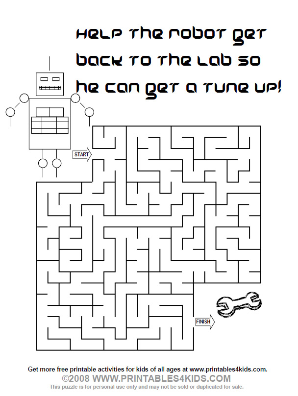 image regarding Printable Robot known as printable robotic maze : Printables for Small children free of charge phrase