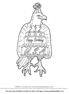 American Eagle Happy Birthday Coloring Activity