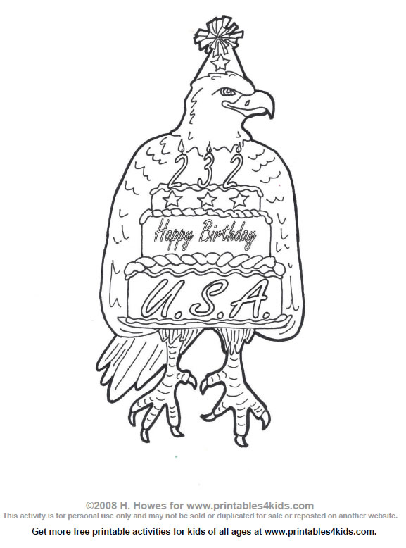 Happy Birthday USA Coloring Page : Printables for Kids ...