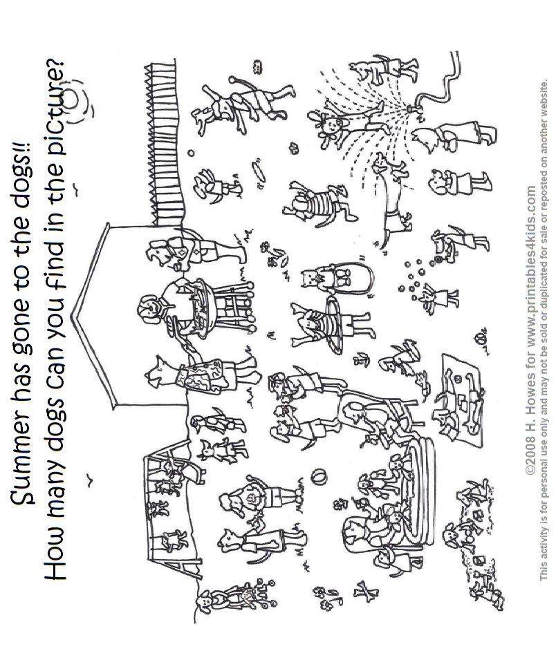Summer Coloring Page Dogs having a Barbecue Printables for Kids