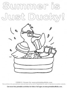 Duck splashing in a swimming pool coloring page