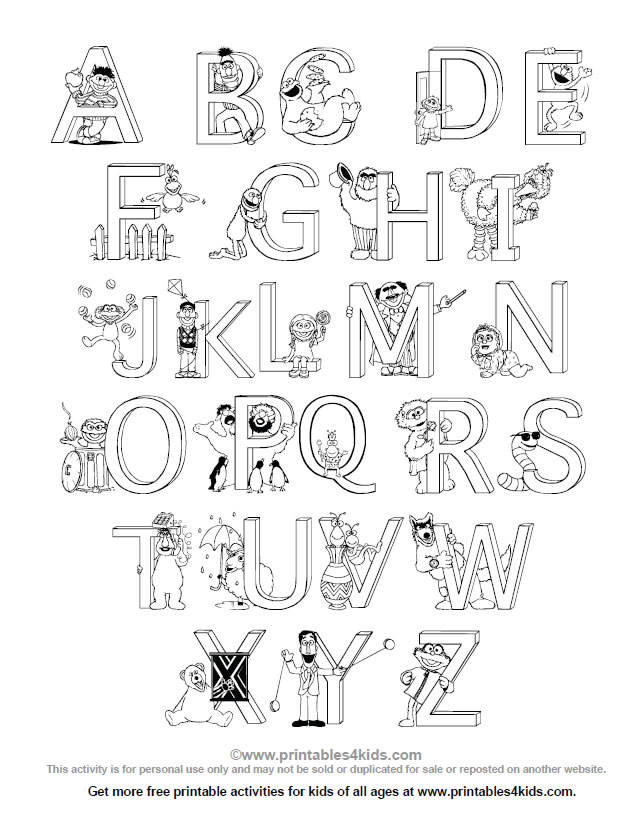 Sesame Street Alphabet Coloring Page : Printables for Kids – free ...