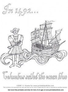 Free printable columbus day coloring sheet