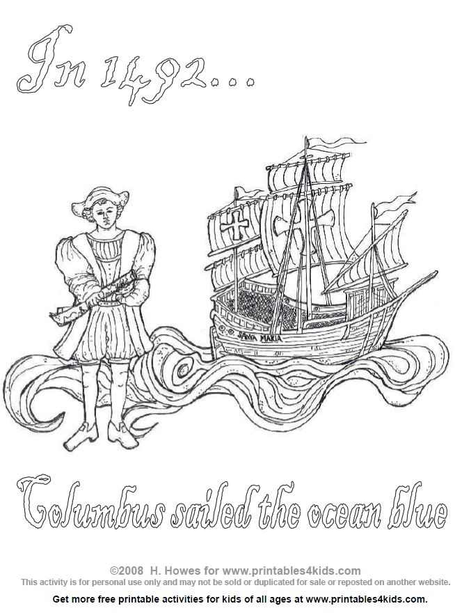 columbus day coloring page printables for kids free word