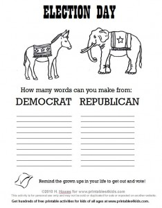 Election Day Coloring Page and Make a Word Printable