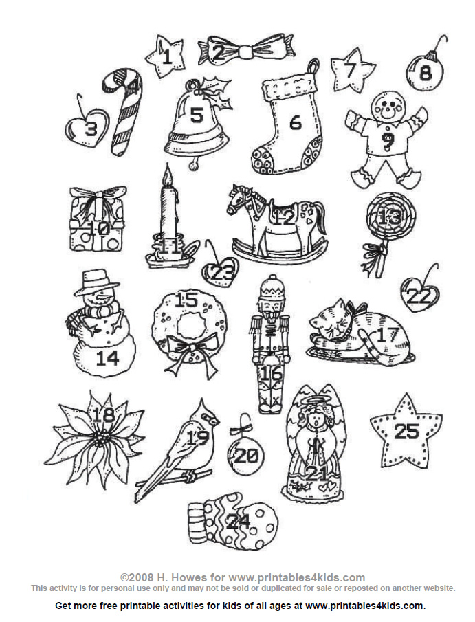 Free advent calendar coloring sheets coloring pages for Free advent calendar coloring pages