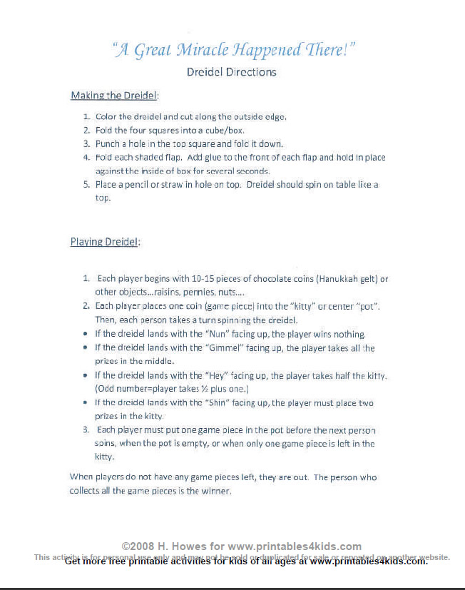 picture regarding How to Play Dreidel Printable referred to as Dreidel Video game Recommendations : Printables for Young children cost-free phrase