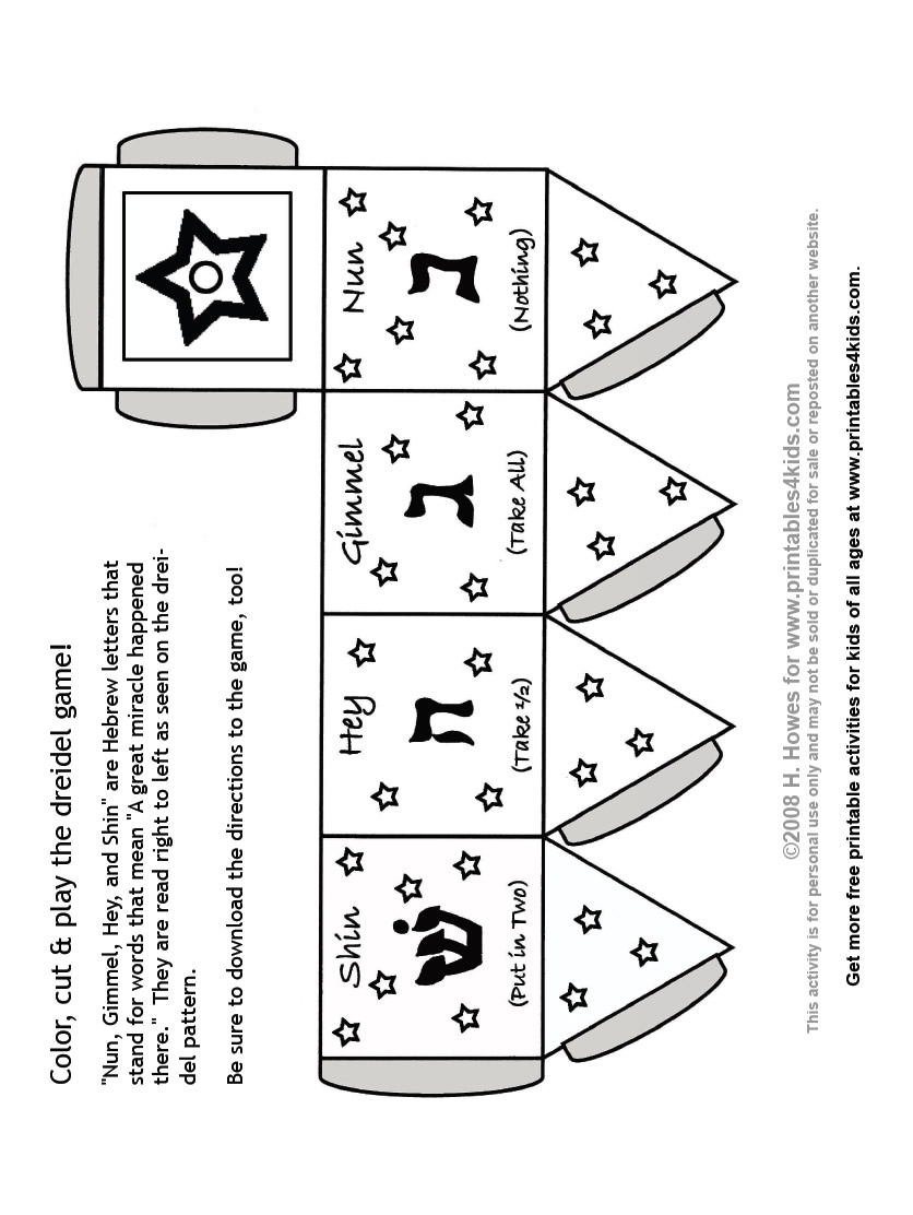 picture relating to How to Play the Dreidel Game Printable named Printables4Little ones - absolutely free coloring webpages, term glimpse puzzles