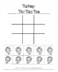 Thanksgiving Turkey Tic Tac Toe Game