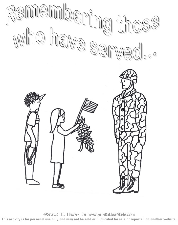 Veterans Day Coloring Sheet Printables for Kids – free