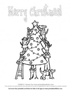 Pups Decorating the Christmas Tree Coloring Page