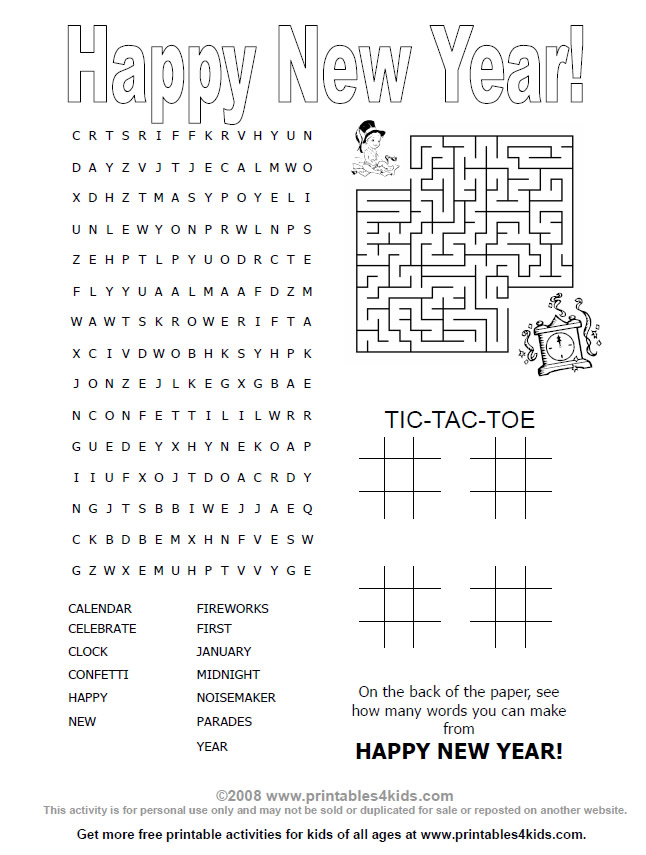 New Years 2015 Word Search Activities | Search Results | Calendar 2015