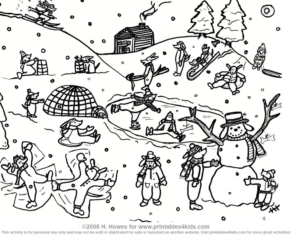 Snow Day With The Pups Coloring Page Printables For Kids Free