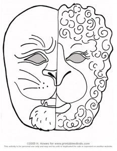 March lion lamb for Lion mask coloring page