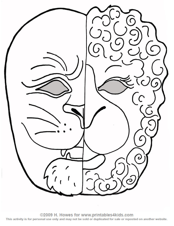 Printable March Lion and Lamb Mask