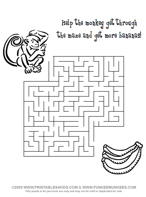 Monkey Maze Printables For Kids Free Word Search Puzzles Coloring Pages And Other Activities