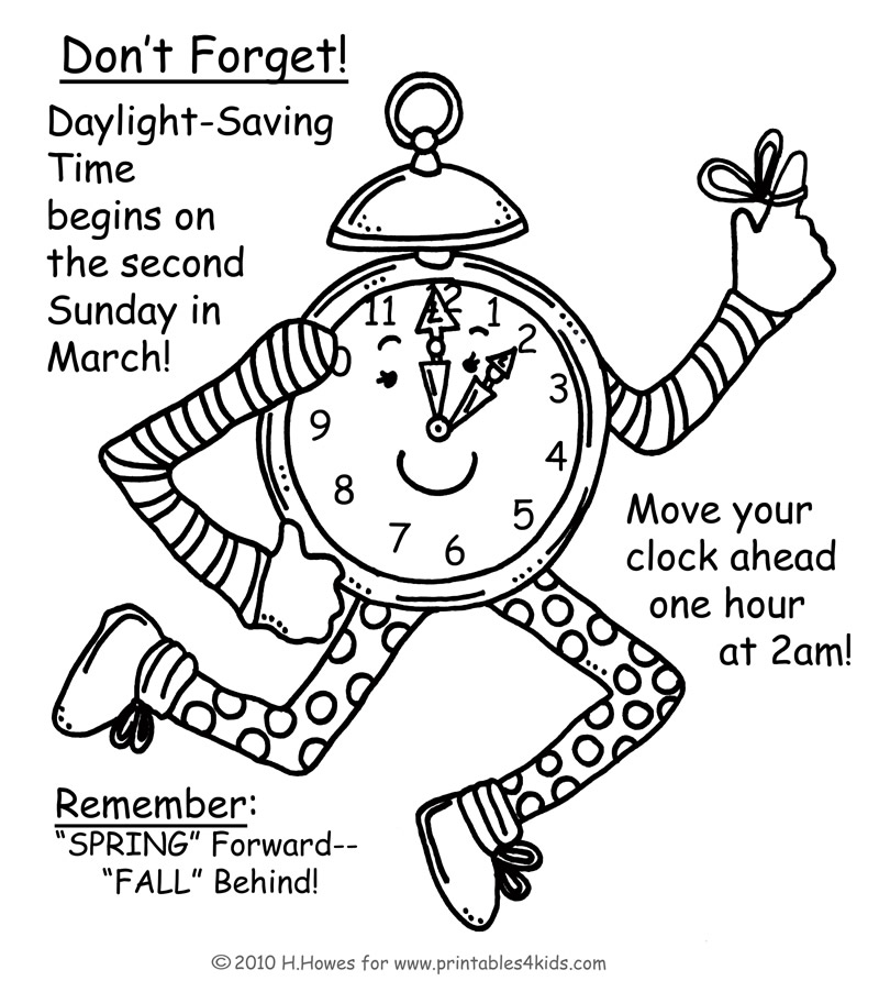 daylight savings spring forward reminder coloring page printables