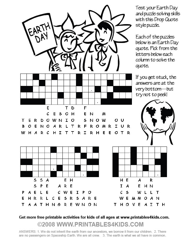 Earth Day Coloring Page Drop Quote Puzzle