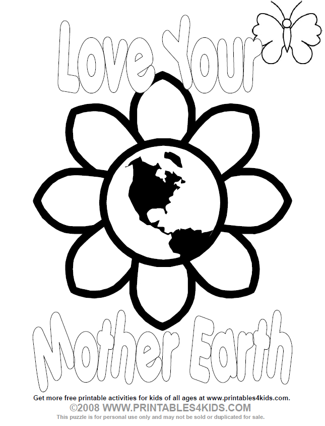 Love Your Mother Earth Day Coloring Page Printables For Kids Free Word Search Puzzles Pages And Other Activities