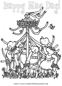 May Day Maypole Celebration Coloring Page